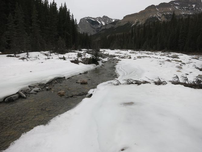 Old Fort Creek still has snow and ice in places, but travel is easy.
